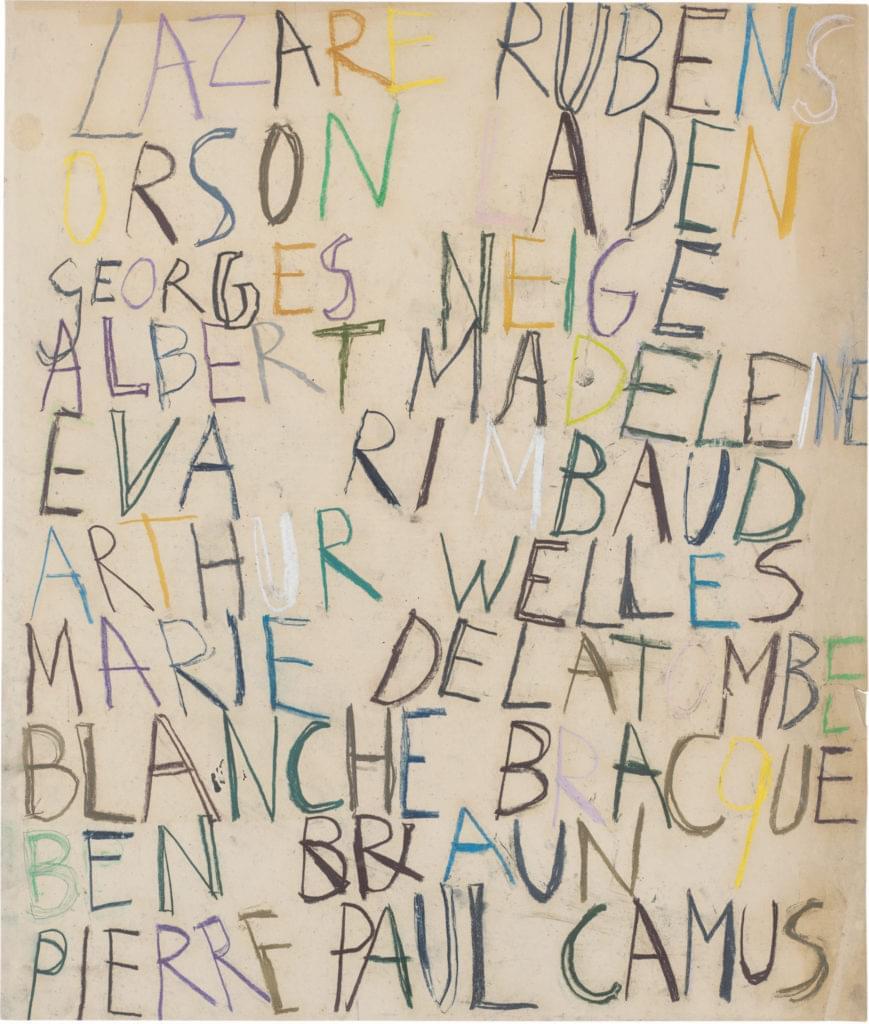 Philippe Vandenberg word drawing pastel 2008 paper rubens welles rimbaud brace braun camus blanche neige