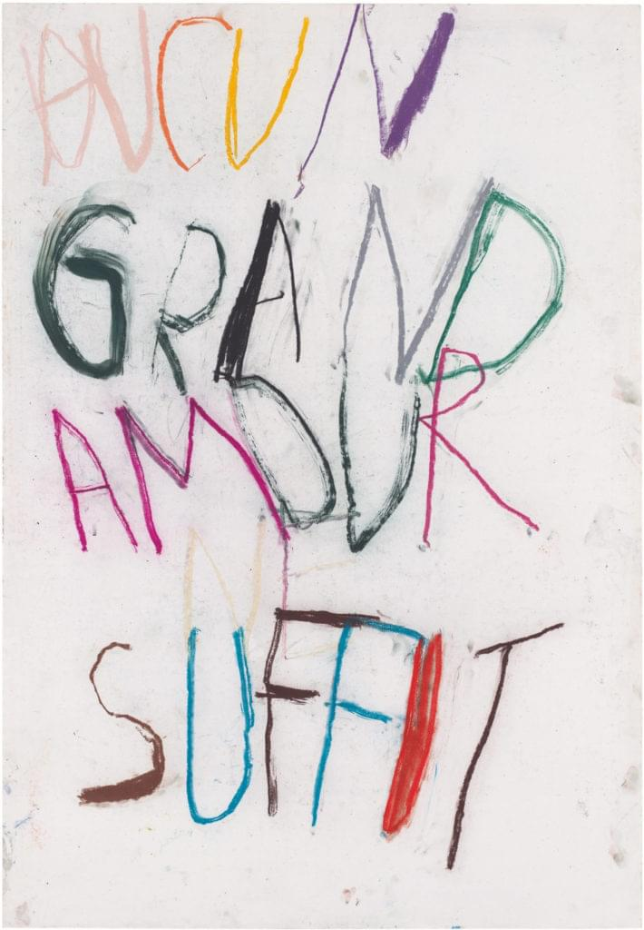 Philippe Vandenberg word drawing pastel 2008 paper un grand amour suffit
