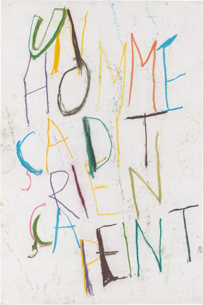 Philippe Vandenberg word drawing 2008 pastel on paper homme point
